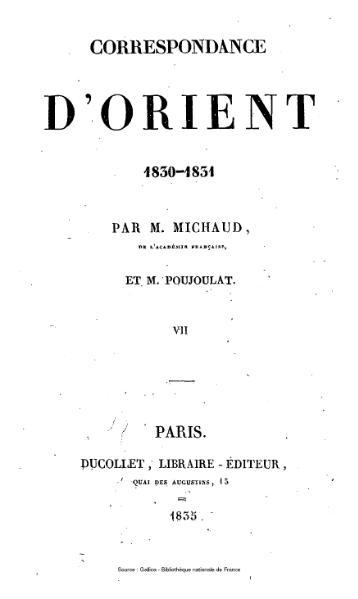 File:Michaud - Poujoulat - Correspondance d'Orient, 1830-1831, tome 7.djvu