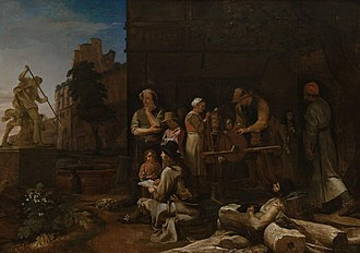 Bamboccianti - Roman Streetscene with a Young Artist by Michiel Sweerts