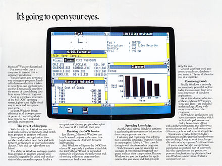 Windows 1.0 was released on November 20, 1985 as the first version of the Microsoft Windows line Microsoft Windows 1.0 pages2 3.jpg