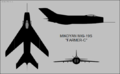 Mikoyan-Gurevich MiG-19S three-view silhouette.png