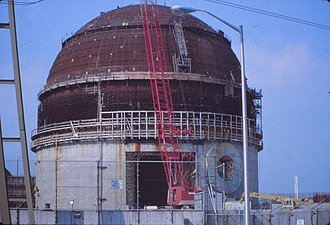 Millstone Nuclear Power Plant - Work being performed on the containment structure at the Millstone Nuclear Power Plant.
