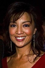 the joy luck club film  asian american w in a red dress smiling to a camera ming na wen before the joy luck club