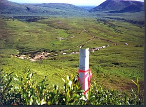 Land claim - Corner post of the claim of the Blue Ribbon Mine in Alaska