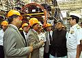 Minister of Defence Arun Jaitley reviewing the construction of Scorpene class submarines at Mazagaon Dock Mumbai 2.jpg
