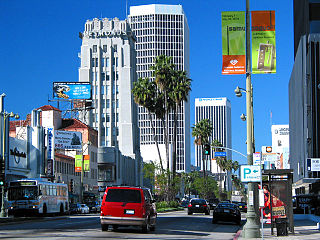 Wilshire Boulevard thoroughfare in Santa Monica, Beverly Hills, and Los Angeles, United States