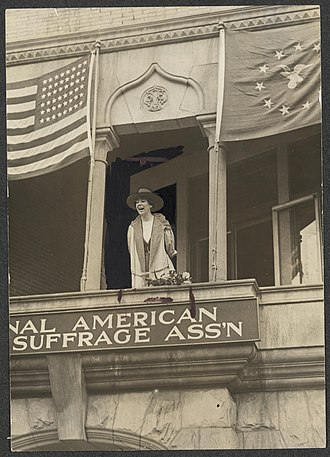 Jeannette Rankin - Jeannette Rankin speaking from the balcony of the National American Woman Suffrage Association, Monday, April 2, 1917