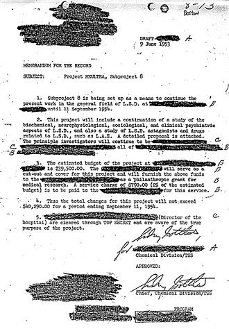 Project MKUltra - Sidney Gottlieb approved of an MKUltra sub-project on LSD in this June 9, 1953, letter.