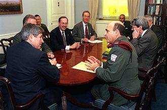 Shaul Mofaz - The Chief of Staff Gen. Shaul Mofaz (right foreground) meets with U.S. Deputy Secretary of Defense Paul Wolfowitz (left), and other senior U.S. Department of Defense officials in the Pentagon