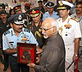 Mohd. Hamid Ansari being presented a memento by the Chief of the Air Staff, Air Chief Marshal Arup Raha, at the 'Shauryanjali', a commemorative exhibition on Golden Jubilee of 1965 war, at India Gate.jpg