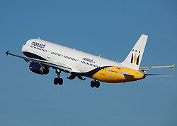Monarch a321-200 g-ozbu takeoff from manchester arp.jpg