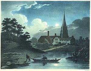 St Mary's Priory Church, Monmouth - 1799 aquatinted print by R. Ackermann