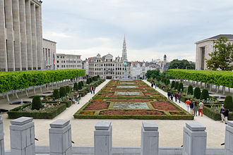 Mont des Arts - The spire of the Brussels City Hall seen from the Mont des Arts