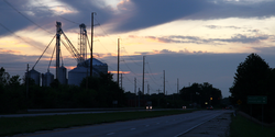 Montmorenci's grain elevators silhouetted at dusk