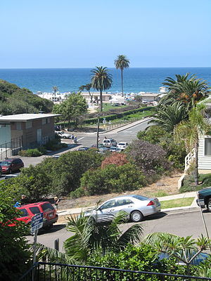 Moonlight Beach - A view of Moonlight Beach from the second floor of the Moonlight Beach Motel, 2009