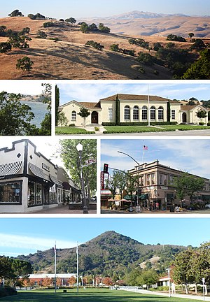 Clockwise: the Diablo Range hills, the historic Stratford School building, Votaw Building, El Toro Mountain, Downtown shops, Anderson Lake.