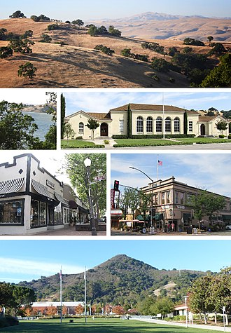 Morgan Hill, California - Clockwise: the Diablo Range hills, historic Morgan Hill Elementary Building, Votaw Building, El Toro Mountain, Downtown shops, Anderson Lake