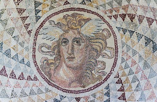 Mosaic floor opus tessellatum detail Gorgone NAMA Athens Greece