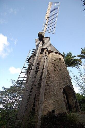 Damoiseau (rum) - Windmill at the Damoiseau rum distillery, Le Moule, Guadeloupe.