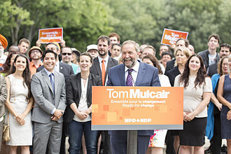 Tom Mulcair - Tom Mulcair in Montreal with Quebec NDP MPs