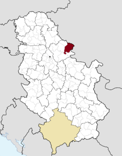 Location of Vršac within Serbia