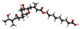 Ball-and-stick model of the pseudomonic acid A molecule, the principal component of mupirocin