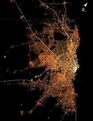 Megalopolis - Satellite image of Greater Buenos Aires at night. Urban sprawl created a vast conurbation of 12,801,365 inhabitants including the City of Buenos Aires, a third of the total population of Argentina.