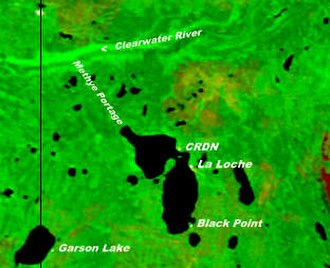 Black Point, Saskatchewan - NASA image of Lac La Loche showing Black Point