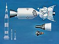 Drawings of Mercury, Gemini capsules and Apollo spacecraft, with their launch rockets