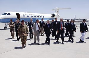 NATO and Afghan officials at Herat International Airport in 2012