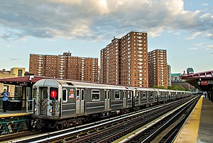 1 (New York City Subway service) - Image: NYCT IRT Kawasaki R62 1 Train