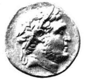 Apega of Nabis - An ancient Greek coin with a portrait of Nabis, king of Sparta and inventor of the Iron Apega.