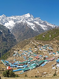 Namche Bazaar with Kongde Ri peak in the background.