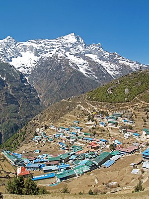 Namche Bazaar - Namche Bazaar with Kongde Ri peak in the background.