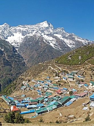 Namche Bazaar - Namche Bazaar with Kongde Ri peak in the background.