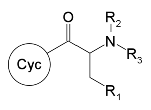 Substituted cathinone - General chemical structure of substituted naphyrones, with R1-R3 defined in text