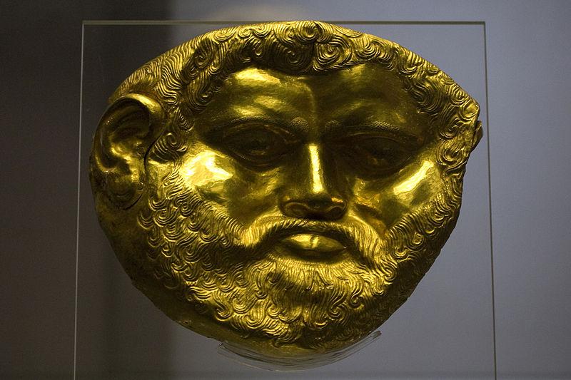 File: Museu Nacional de Arqueologia Sofia - Máscara Funeral de Ouro da Tumulus Svetitsata (King redondo?) Jpg.