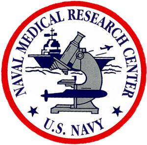 Naval Medical Research Center - The seal of the Naval Medical Research Center shows an optical microscope juxtaposed with outlines of an airplane, aircraft carrier, and submarine.