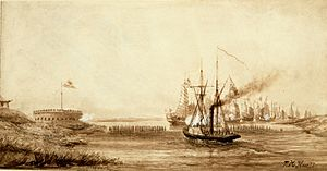 Broadway expedition - The steamer Nemesis engaging the Houchung fort and Chinese war junks, 13 March 1841