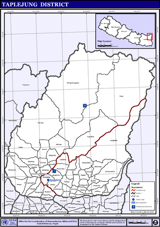 Taplejung District - Map of the VDCs in Taplejung District