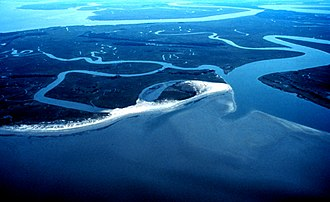 Ashepoo Combahee Edisto Basin National Estuarine Research Reserve - Otter Island from the air, ACE Basin National Estuarine Research Reserve, October 2010.