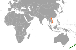 Map indicating locations of New Zealand and Vietnam