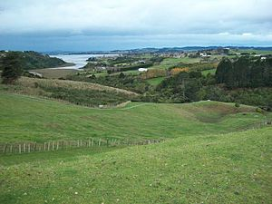Whitford, New Zealand - The Pacific Coast highway near Whitford has views of the surrounding countryside, farms, and Hauraki Gulf.