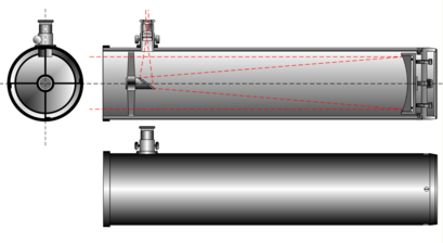 trajet des rayons lumineux dans un Newton