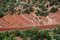 Normal fault in Kayenta Formation redbeds (Upper Triassic-Lower Jurassic), roadcut in Kolob Canyons area, Zion National Park, sw Utah 5 (8423911073).jpg