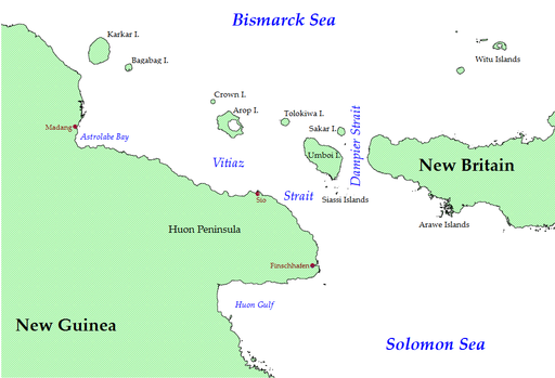 Northeastern New Guinea and Bismarck Archipelago (some smaller islands omitted)