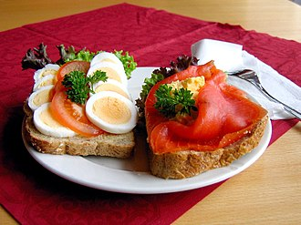 Open sandwich - Smørbrød, smørrebrød or smörgås, a Scandinavian open sandwich at a cafeteria in Norway