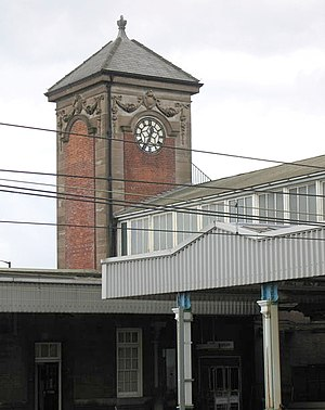 Nuneaton railway station - The station clock tower dating from 1915.