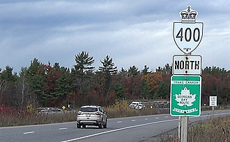 State highway - A Canadian provincial highway double-signed with a numberless, but named, national Trans-Canada marker