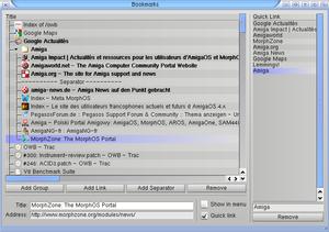 Origyn Web Browser - OWB bookmark manager
