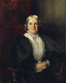 portrait of a Victorian woman of middle age facing the artist, head slightly to the right